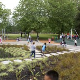 Kids running and playing in bioretention area of playground.